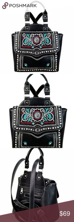 "Western Embroidered Concho Backpack Purse Black - Size: 12.50""(L) X 4.75""(W) X 9.50""(H) - Material: PU Leather - Flap has turn lock closure - Double Adjustable Backpack Strap (Strap 46"") - 4 Metal Feet on Bottom - Open Pocket & Zippered Pocket On Back - Inside Single Compartment Divided By A Medium Zippered Pocket - Inside Of Bag Include A Zippered Pocket And 2 Open Pockets - Check out the matching wallet, and bundle! - Sorry, no trades! Montana West Bags Wallets"