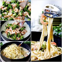 . 30 Minute Roasted Shrimp and Broccoli Fettuccine Alfredo (Lightened up!) . By @jenscarlsbadcravings, visit blog CarlsbadCravings.com, link in bio @jenscarlsbadcravings . Roasted Shrimp and Broccoli 4 cups broccoli florets 12 oz. medium uncooked peeled and deveined shrimp Fettuccine Alfredo 12 oz. fettuccine 1/4 cup flour of choice 1 3/4 cups chicken broth 1 tsp dried basil, 1/2 tsp each dried parsley, onion powder, salt and 1/4 tsp black pepper Additional ingredients in directions below…