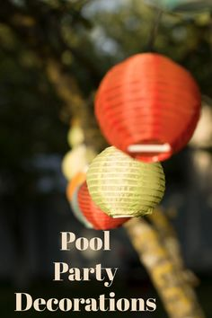 Pool party decorations can reflect the theme of your pool party or simply provide splashes of color with hanging paper lanterns. #poolpartydecorations Floating Lights, Solar Lights, Pool Candles, Hanging Paper Lanterns, Pool Party Decorations, Pool Fountain, Pool Floats, Cool Pools, Color Splash