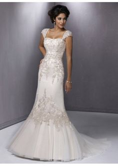 mermaid wedding dresses embellished capped sleeves - Google Search