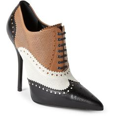 Gucci Black & Tan Pointed Toe Brogue Ankle Booties (€355) ❤ liked on Polyvore featuring shoes, boots, ankle booties, white, black lace up ankle booties, lace-up booties, black ankle booties, high heel booties and pointed toe lace up booties
