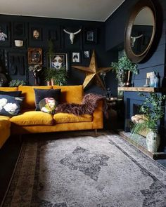"""Maybe dark walls if you have big open window. Maybe it will make the outdoors """"pop"""". And not be to dark inside. Maybe dark walls if you have big open window. Maybe it will make the outdoors """"pop"""". And not be to dark inside. Living Room Bar, Dark Living Rooms, Living Room Furniture, Living Room Designs, Dark Rooms, Living Room Warm Colors, Living Room Wall Decor Ideas Above Couch, Blue Living Room Walls, Living Room Decor Eclectic"""
