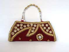 RED MAHROON VELVET bridal hand purse SB116  for more details visit www.streetbazaar.in #party #style #bridal #handy #red #mahroon #velvet #purse