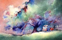 """A 23 Window VW Bus at Rest"" - Watercolor by Michael David Sorensen.  http://www.facebook.com/michaeldavidsorensen"