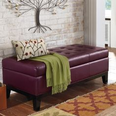 Lauren Leather Storage Ottoman $399