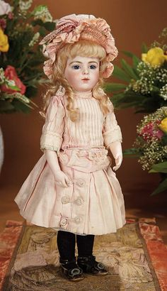 Bread and Roses - Auction - July 26, 2016: Lot #26 French Bisque Bebe by Leon Casimir Bru with Original Costume and Signed Bru Shoes