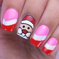 Santa Nails - Full details on this mani and how I created it can be found on my blog ManicuredandMarvelous.com #nails #nailart #naildesign #cutenails #Christmas #HolidayNails