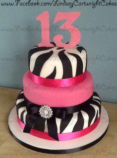 3 tier, pink & zebra print 13th birthday cake