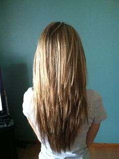 v cut layered hair - Google Search