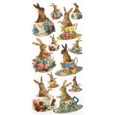 diecut bunny stickers | Home » 1 Sheet of Stickers Easter Bunnies in Tea Cups