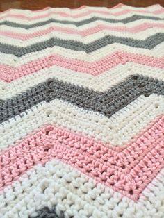 Crochet Chevron Baby Girl Blanket pink grey and by BCSweeties