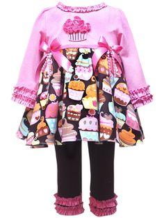 Rare Editions Toddler Girls Cupcake Print Legging Set