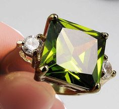 Jewelry New Brillant Peridot 14kt yellow gold filled ring size 8