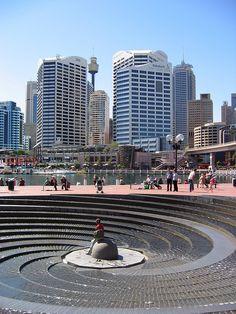 Darling Harbour -  Sydney, Australia.  I love this fountain.