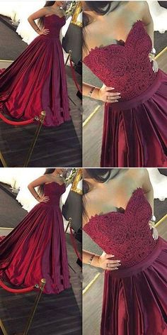 A-Line Sweetheart Sweep Train Burgundy Satin Prom Dress with Lace Beading