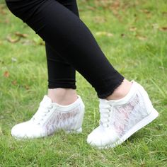 32c044c9b10 Hot Sales newest 2014 Summer Black White Hidden Wedge Heels Casual shoes  Women s Elevator High-heels Sneakers for Women Laces
