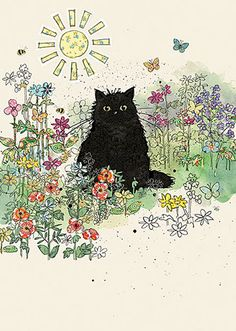 Black Cat and Flowers - A Blank Greeting Card