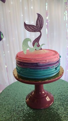 What a fabulous cake at this Mermaid Birthday Party!! Love the colors!! See more party ideas and share yours at CatchMyParty.com #mermaid #cake