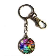 Colorful Eyes Homestuck Keychain Key Chain Cute Keyring Car Fashion Key Ring God Mandala cosplay Charm chain Gift. Size:L8X3CM Pendant Size: 2.9CM Colors: Ancient bronze Material:Alloy+Glass.