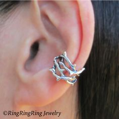 Thorn ear cuffs Sterling Silver earrings jewelry woven crown of thorns... ($51) ❤ liked on Polyvore featuring men's fashion, men's jewelry, mens ear cuff and mens watches jewelry