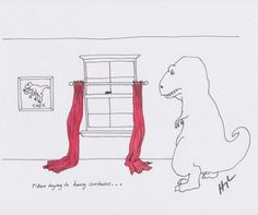 t-rex trying to hang curtains