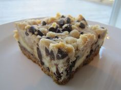 Chocolate Chip Cookie Dough Cheese Cake Bars.