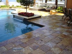 pool patio with pavers | Travertine Patios, Travertine Driveways, Travertine Pool Decks & Water ...