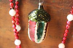 Vintage Glass Acorn Ornament  Christmas ornament  woodland