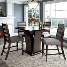Bistro Counter Height Dining Table with 4 Grey Sand Dining Chairs - Sam's Club