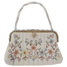 Preowned 1940s Llewellyn Hand Made In France Beaded Floral Evening Bag (£280) ❤ liked on Polyvore featuring bags, handbags, purses, grey, beaded purse, man bag, pre owned handbags, grey handbags and grey evening bag
