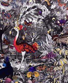 KRISTJANA S WILLIAMS - (unknown). Featured at the recent Pick Me Up graphic art fair this artist uses victorian print fragments to create these amazing absorbing new worlds and creatures