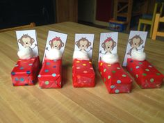 5 little monkeys jumping on the bed, wrapped juice boxes with cotton ball pillow