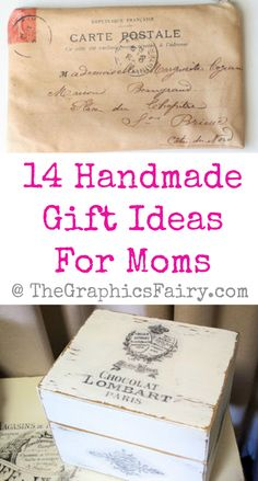 14 Handmade Gift Ideas For Moms by Karen Watson All of these wonderful crafts and projects were created using Vintage Graphics from my site. Some were created by me, some by my contributors and some were submitted by readers! I hope these projects and DIY's will help inspire you to create some fabulous gifts for the moms in your life!