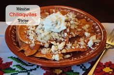 Mexican Chilaquiles recipe- red and green tomatoes. Easy recipe!