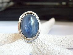 NEW STERLING SILVER 925 MODERN SCULPTED BLUE KYANITE OVAL RING SIZE 7 #Solitaire