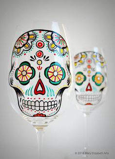 Items similar to Sugar Skull - Hand Painted Wine Glasses - Día de Muertos - Day of the Dead Glasses on Etsy Verre A Vin Design, Wine Glass Crafts, Skull Hand, Hand Painted Wine Glasses, Painting On Wine Glasses, Just In Case, Glass Art, Creations, Etsy