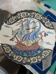 Nautical Art, Tile Art, Ceramic Plates, Book Illustration, Old World, Glass Art, Art Projects, Beautiful Pictures, Ships
