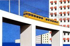 Tram op brug, 2000, piëzografie, opl. 50 st  79 x 74 cm
