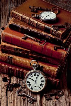 book aesthetic Old Books And Watches - Artist: Garry Gay