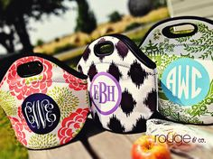 Lunch totes aren't just for kids; this monogrammed lunch tote will not only keep your lunch cold for work, but it will also help identify it in the fridge. Of course, this would be darling for your little #swells too, beach trips or picnics! #monograms {numerous patterns and monogramming styles to choose from} - #BackToSchool