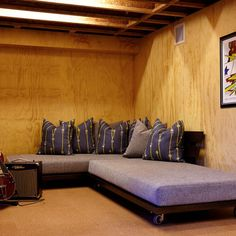 Platform Bed With Wheels Design, plywood basement walls