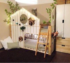 Some gorgeous Ikea hacks using Ikea Kura bed and Ikea Mydal bunkbed Kura Ikea, Ikea Bed Hack, Bed Ikea, Ikea Hacks, Ikea Kallax, Big Girl Rooms, Kids Rooms, Children Playroom, Boy Rooms