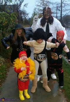 Our children are huge WWE FANS My husband was Mankind,I was Undertaker,My daughter was Andre the Giant,My son was Kane and my other daughter was Hulk Hogan they pick the theme every year and we go with it! Costumes For Teenage Girl, Halloween Costumes For Teens Girls, Easy College Halloween Costumes, Couple Halloween Costumes For Adults, Trendy Halloween, Halloween Halloween, Group Halloween, Women Halloween, Halloween Parties