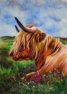 UK textile artist, Fiona Gill, has created a signature look with her felted MarmaladeRose scenes: vibrant colors, lovable field creatures and flowers. Felt Wall Hanging, Cow Painting, Watercolor Painting, Highland Cattle, Felt Pictures, Needle Felting Tutorials, Wool Art, Felt Hearts, Wet Felting