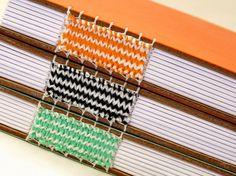 canteiro de alfaces - livros artesanais chevron woven spine bookbinding