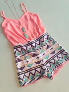 Aztec sequin romper I love this outfit so much