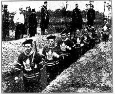 Canadian Army volunteers from the Toronto Maple Leafs are training in their team jerseys.