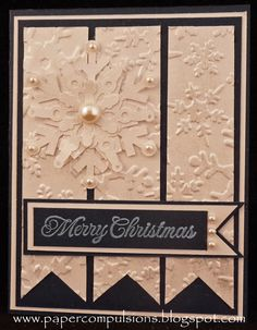 Nice - Could also use burgandy with gold embossing - Creamy Embossed Snowflake Card...