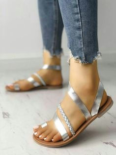 Shop Solid Toe Ring Braided Strappy Flat Sandals right now, get great deals at Joyshoetique. Jelly Shoes Outfit, Flat Sandals Outfit, Strappy Flats, Shoes Heels, Pumps, Braided Ring, Braided Sandals, Cute Shoes, Me Too Shoes