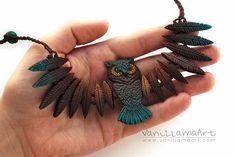 VaniLlamaArt - handmade: Sowa druga.. a jednak pierwsza ;) / Owl necklace.. second one but still first ;)